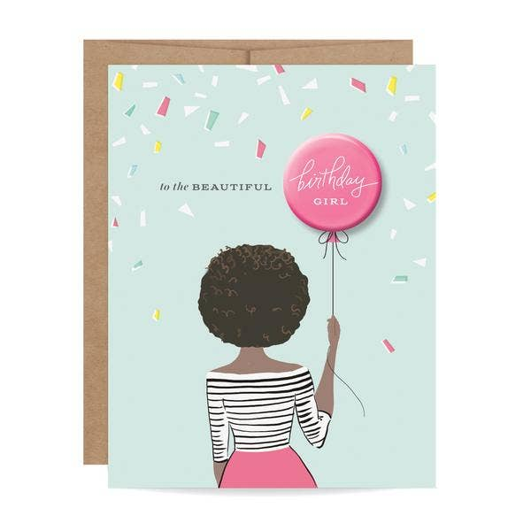 Birthday Girl Button Card - Curls