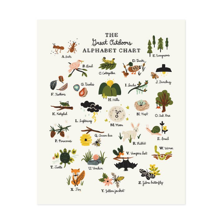 Great Outdoors Alphabet Art Print