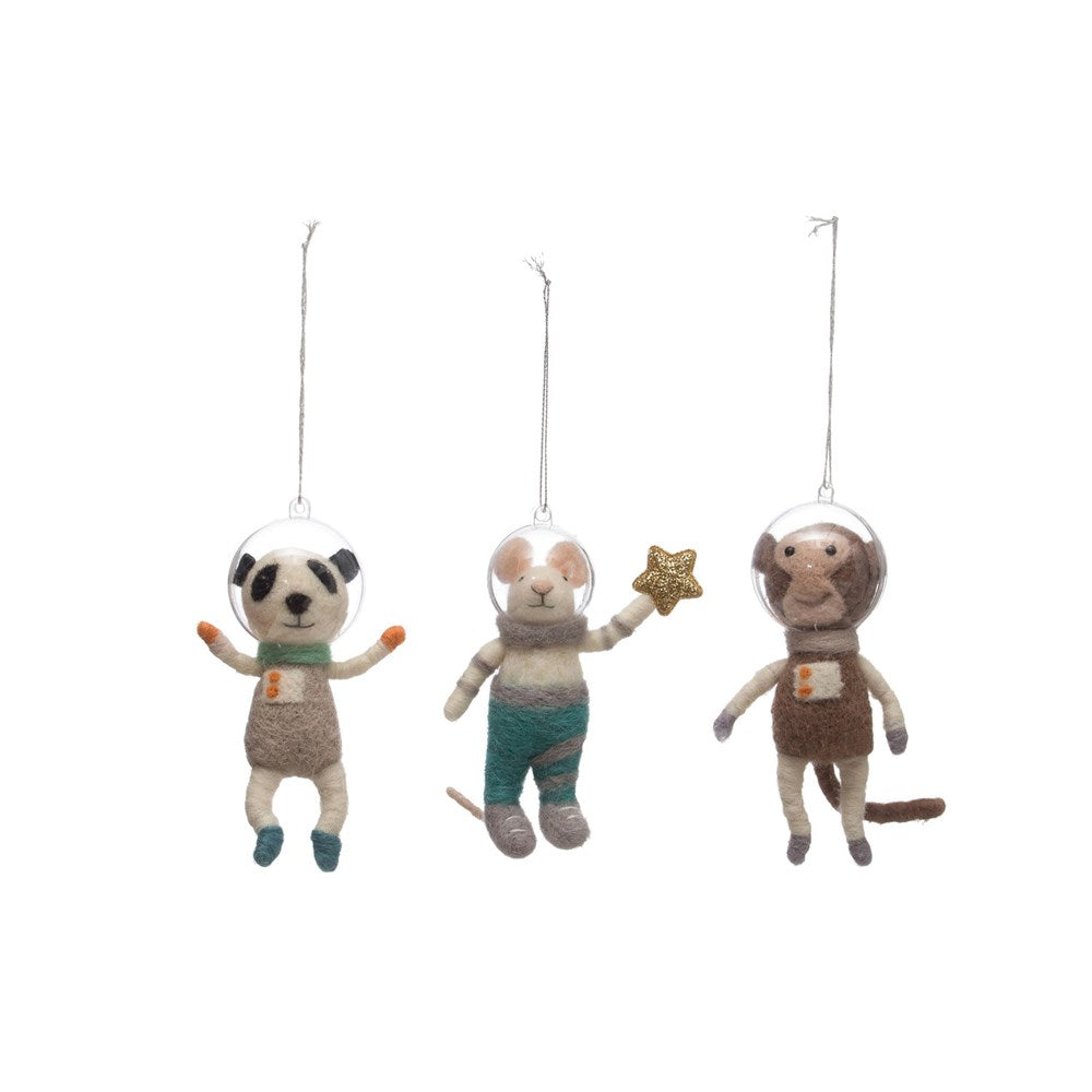 Felt Animal Astronauts Ornament
