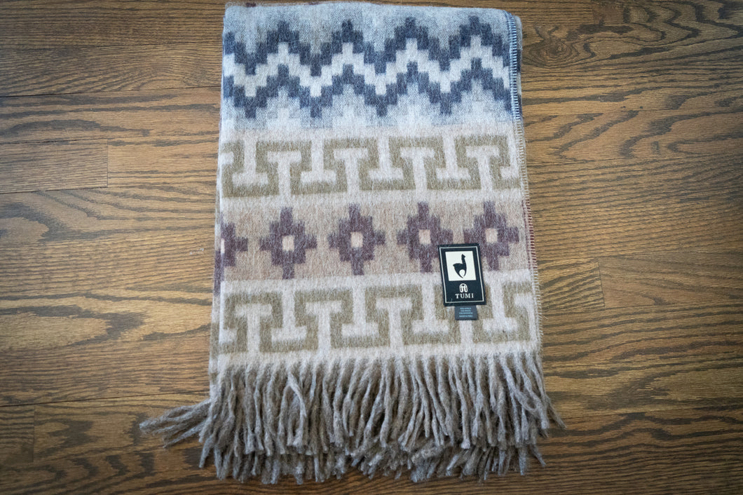 Tumi Alpaca Wool Throw Blanket - Inca Design (Gray/Brown)
