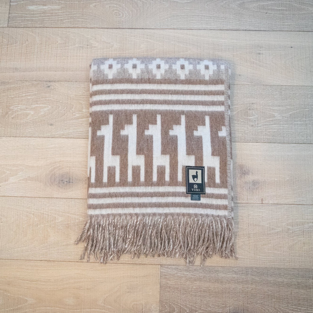 Tumi Alpaca Wool Throw Blanket - Alpaca Design (Beige)