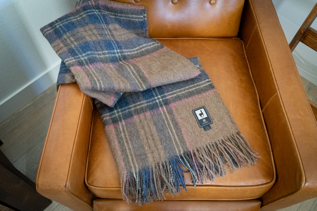 Tumi Alpaca Wool Throw Blanket - Plaid