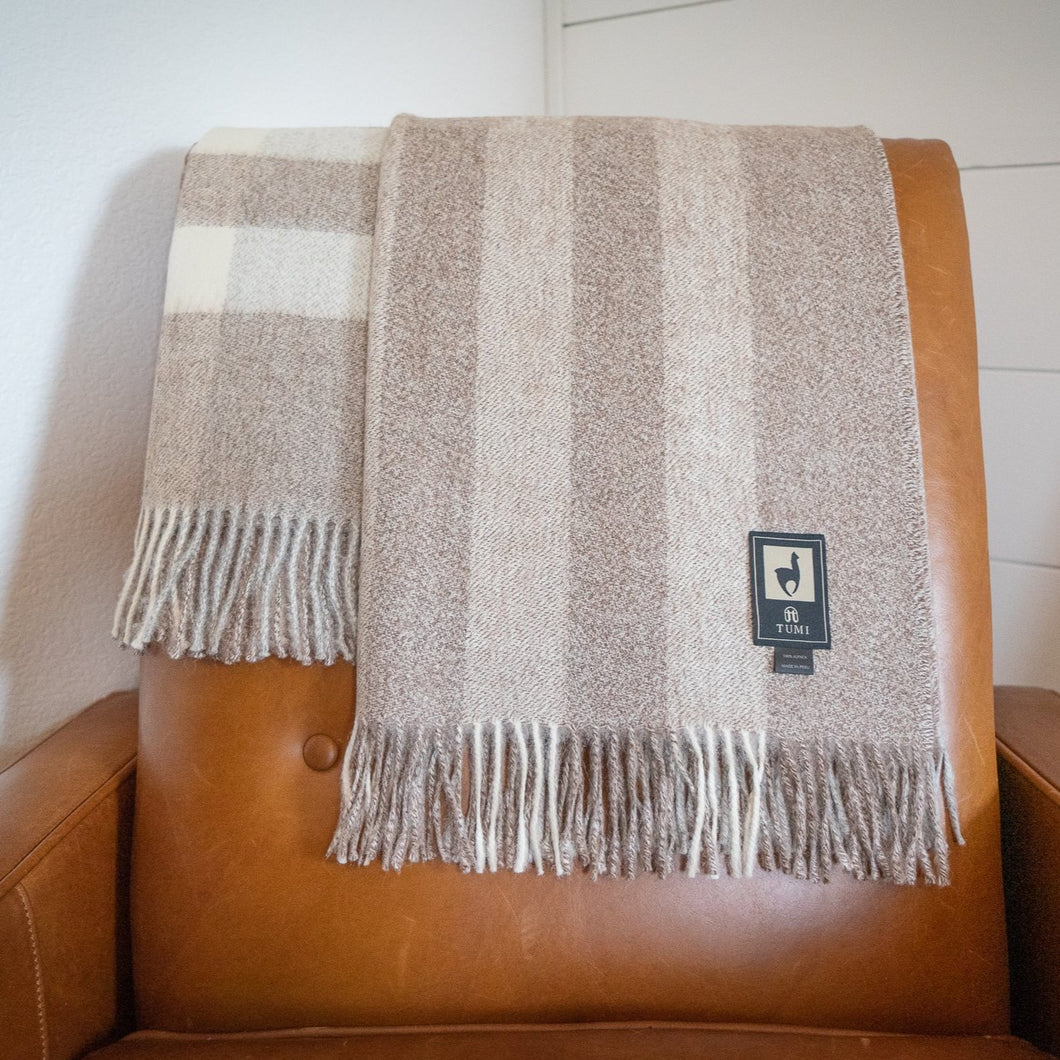 100% Baby Alpaca Wool Throw Blanket - Eco