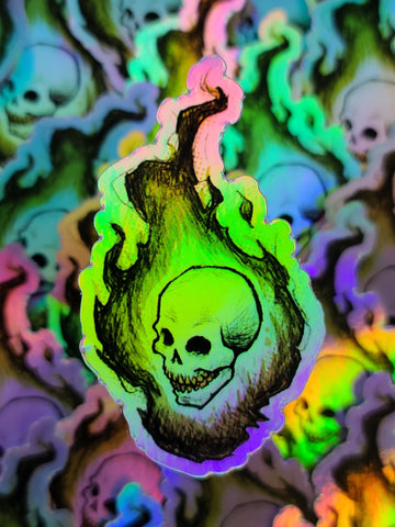 """Flaming Skull"" Holo Sticker"
