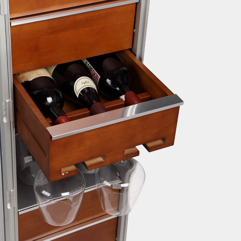 Solid wood drawer for wine bottles and wine glasses - MODALO GmbH