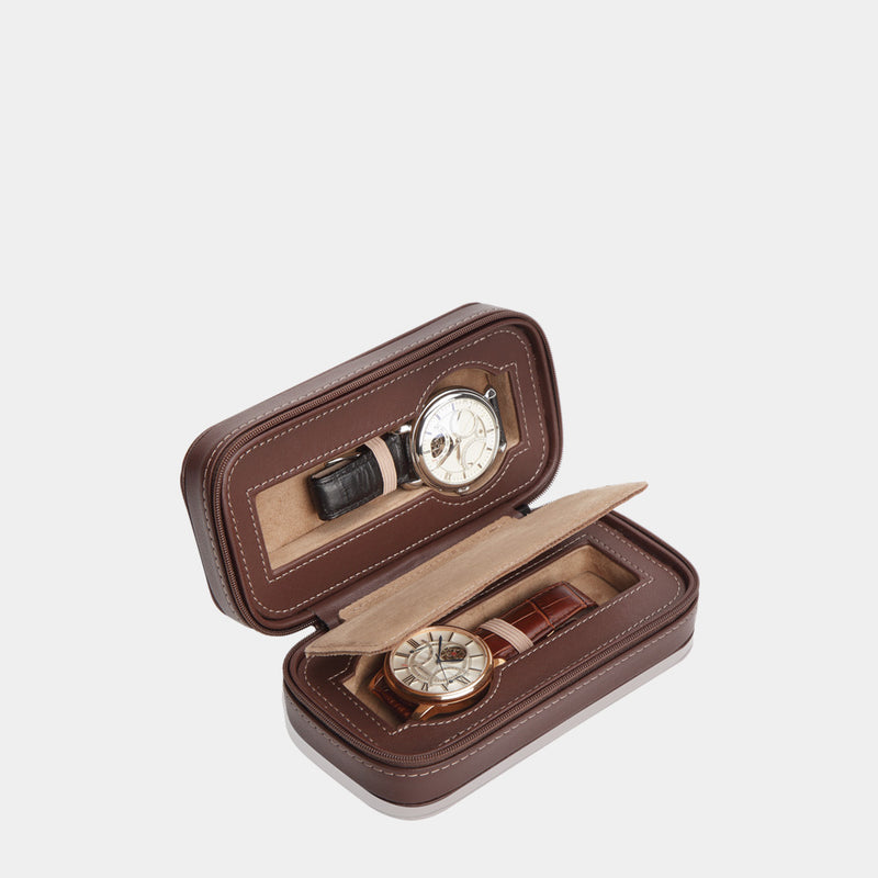 Watchcaswe Invia for 2 Watches Brown - MODALO GmbH