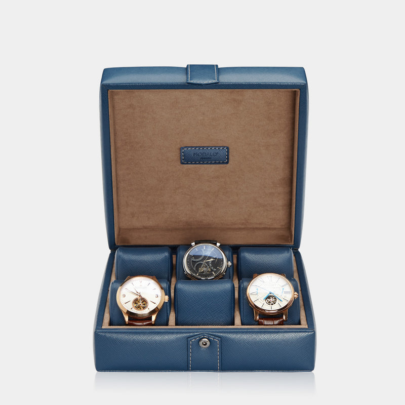 Watchcase Gallante for 6 watches Blue - MODALO GmbH
