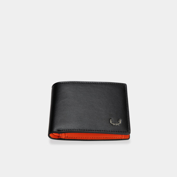 HIRSCHHORN Men´s Leather Wallet Black-orange - MODALO GmbH