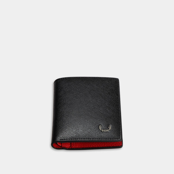 HIRSCHHORN Men´s Slim Leather Wallet Black-red - MODALO GmbH