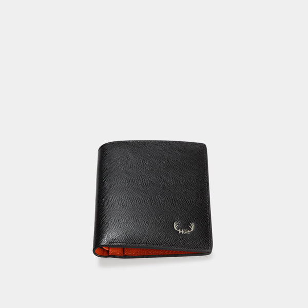 HIRSCHHORN Men´s Slim Leather Wallet Black-orange - MODALO GmbH