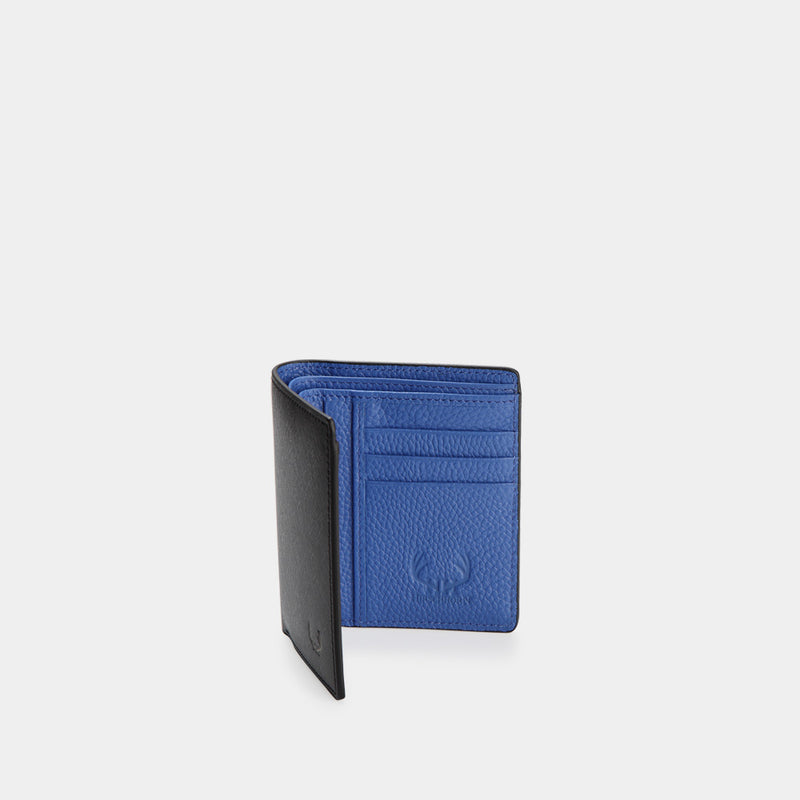 HIRSCHHORN Men´s Slim Leather Wallet Black-blue - MODALO GmbH