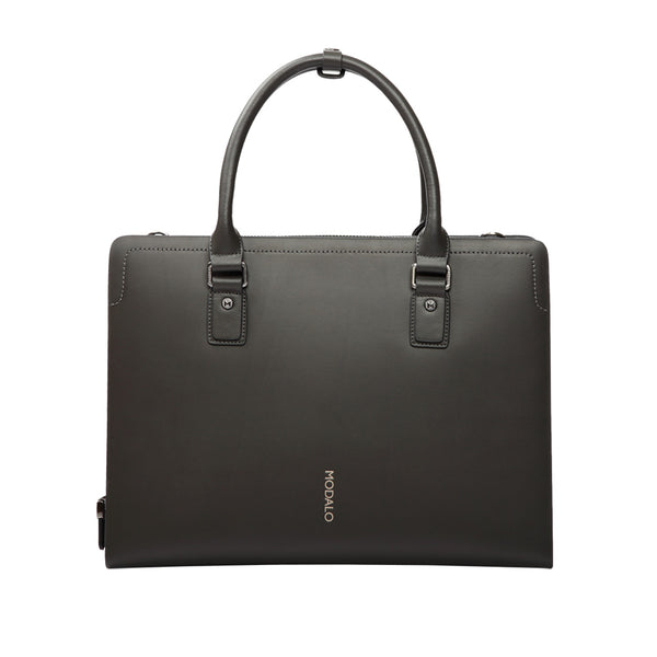 MODALO Business leather bag HONGKONG Grey Blue - MODALO GmbH