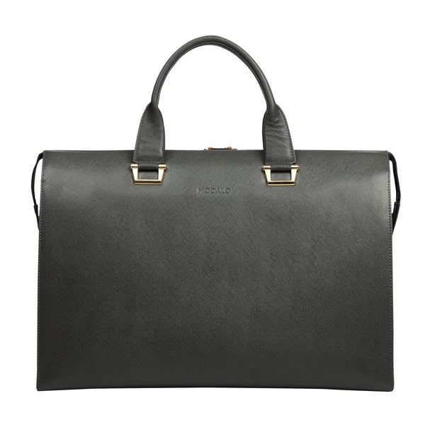 MODALO Business leather bag LONDON Darkgrey - MODALO GmbH