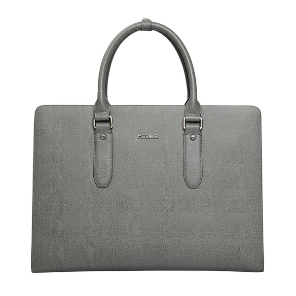 MODALO Business leather bag MILANO Grey - MODALO GmbH