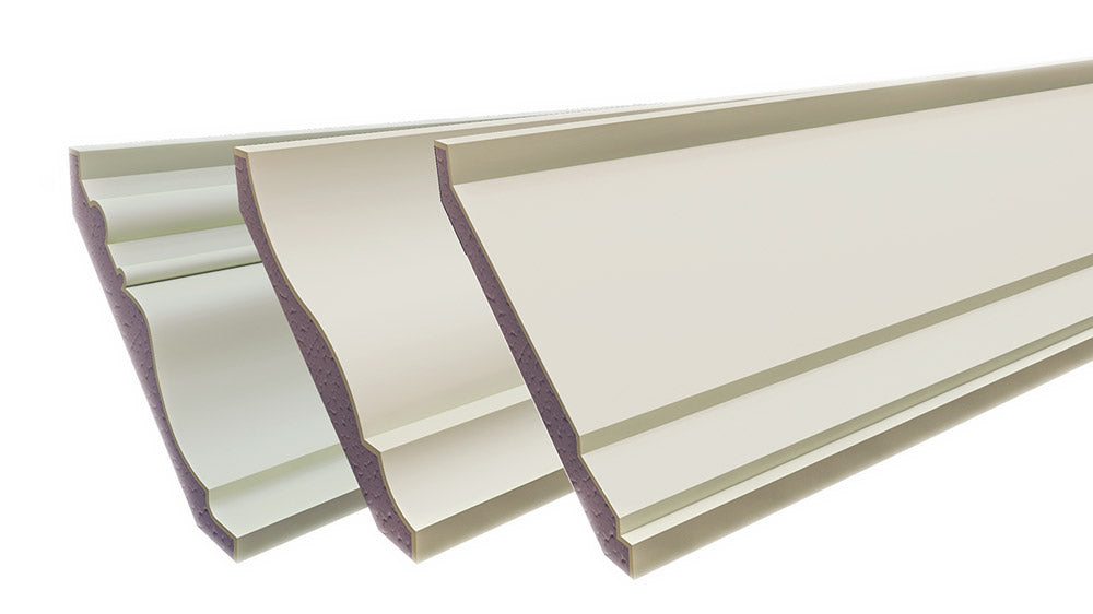 Plaster coated styrofoam crown mouldings