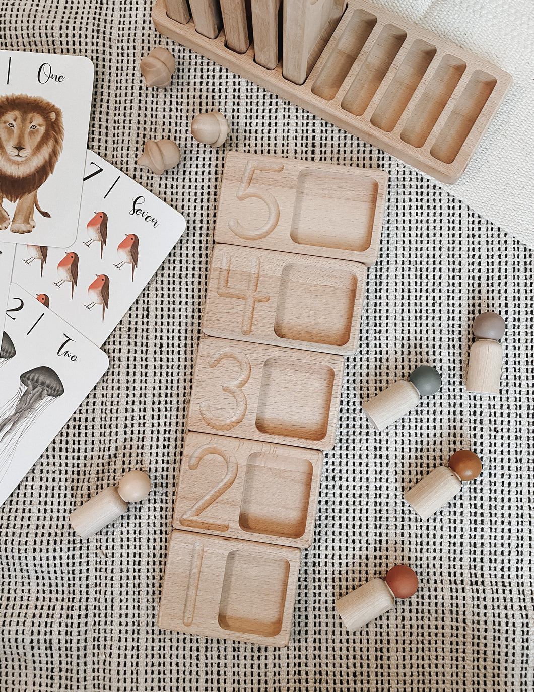 Wood Counting and Tracing Trays