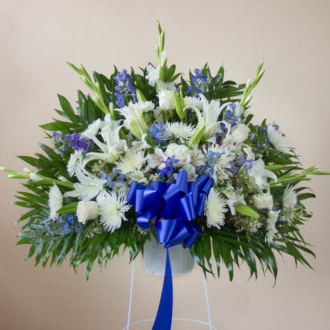 Deepest Condolences Blue & White Standing Basket