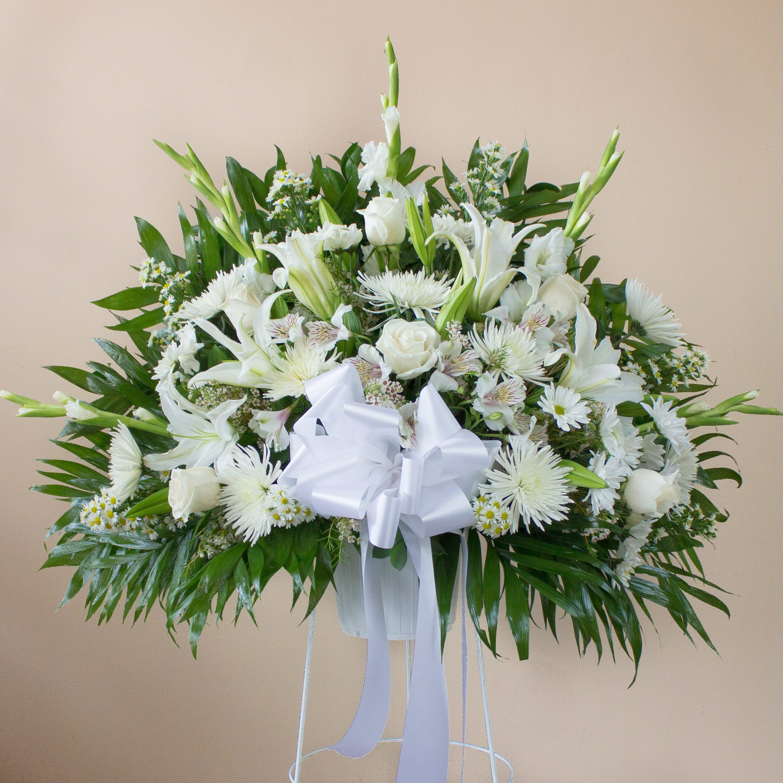 Deepest Condolences White Standing Basket