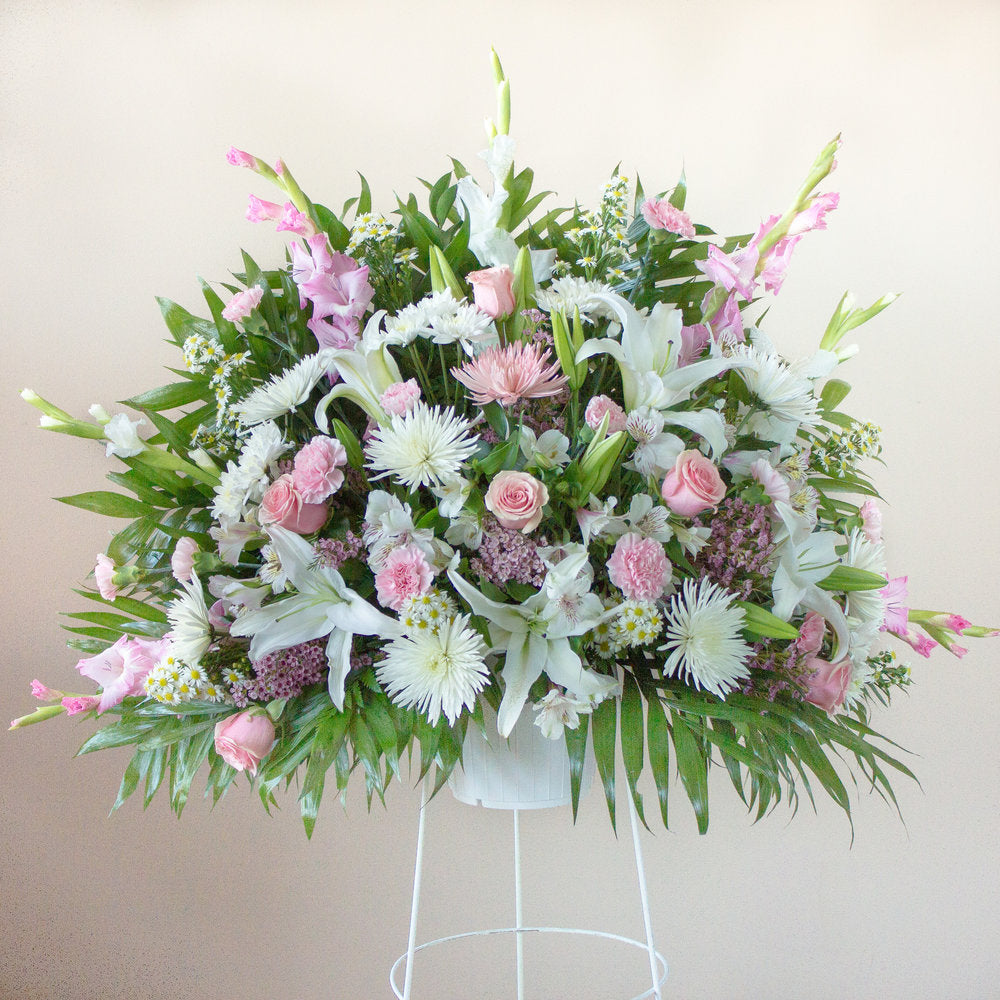 Deepest Condolences Pink & White Standing Basket