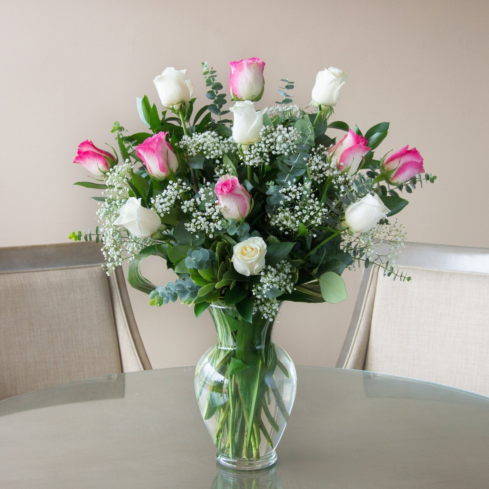 Long Stem White & Pink Roses