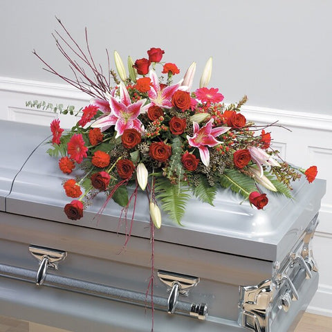 Rustic Red Casket