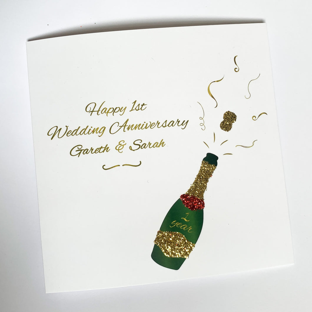 Happy Wedding Anniversary / Engagement / Wedding Personalised Champagne Glitter Card!