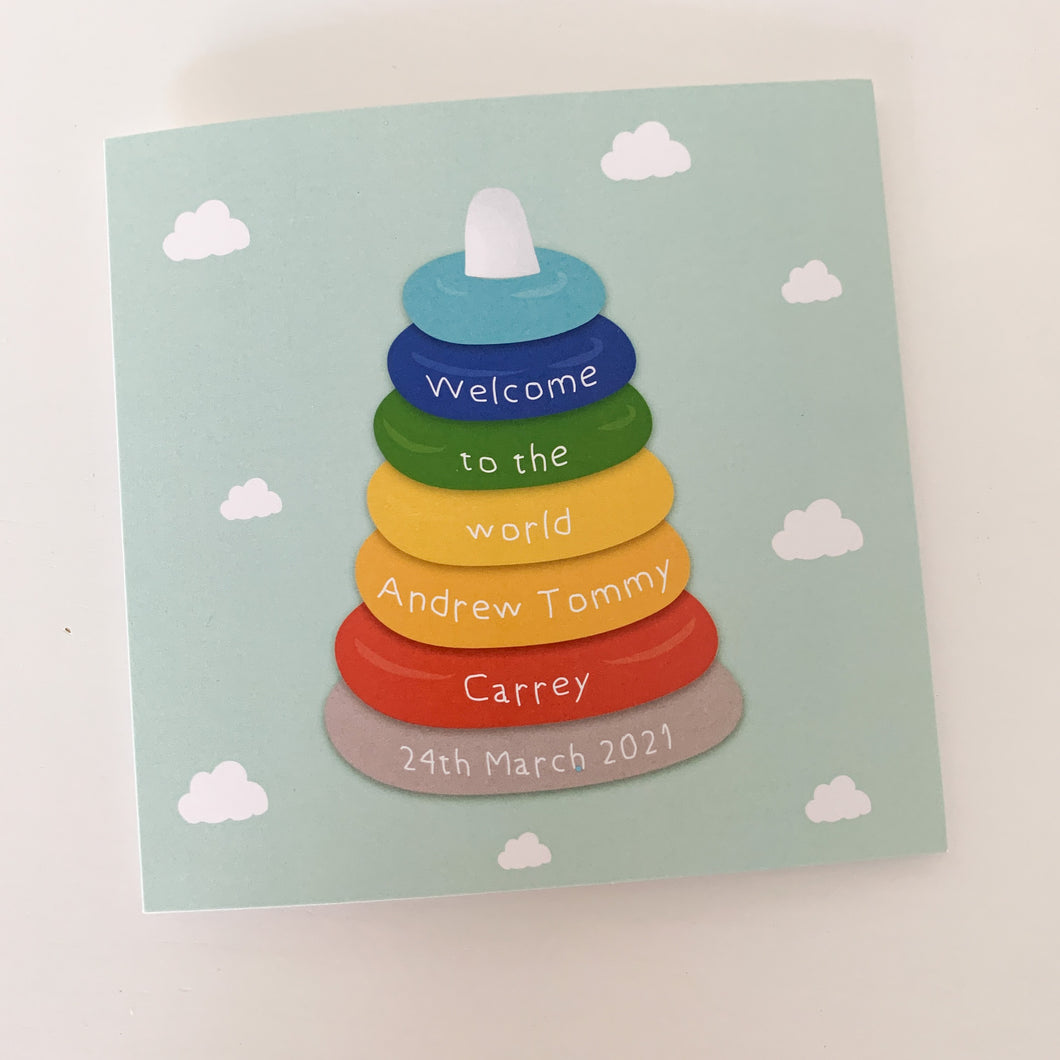 Baby Toy Cloud Welcome To The World Personalised New Baby Card!