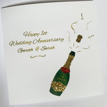 Load image into Gallery viewer, Happy Wedding Anniversary / Engagement / Wedding Personalised Champagne Glitter Card!