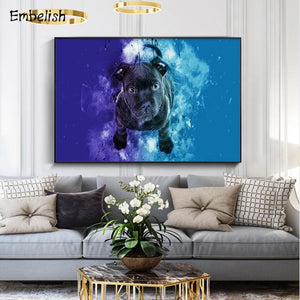 Black Dog In Water - Wall Art