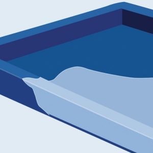 image of the best air beds dark and light blue foam support tray