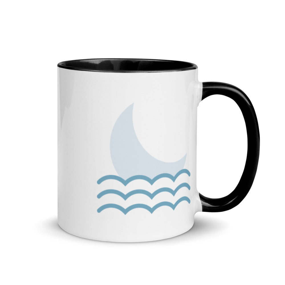 Moon over Ocean Mug with Color Inside - FRANKdesigns.Co