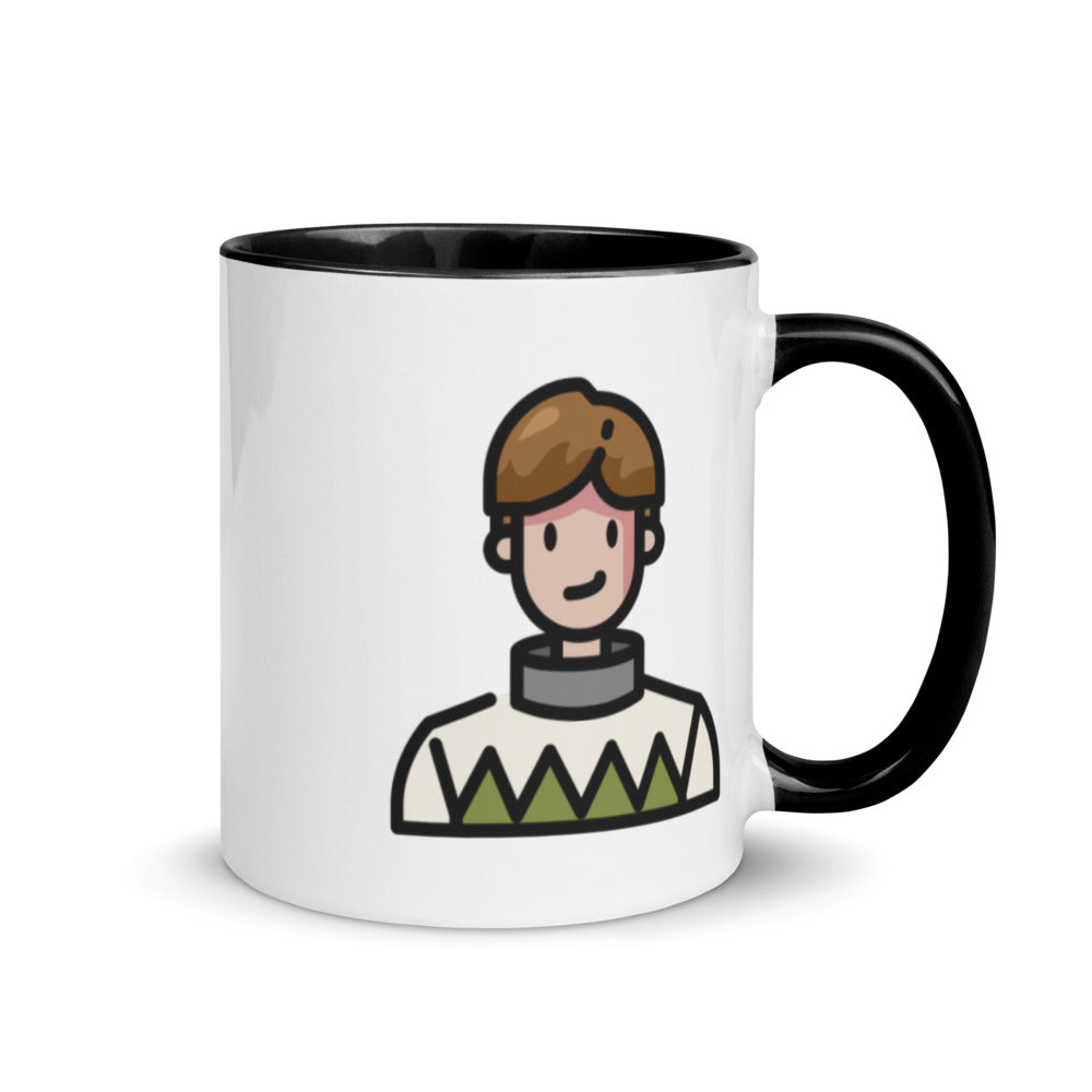 Man in Sweater Mug with Color Inside - FRANKdesigns.Co