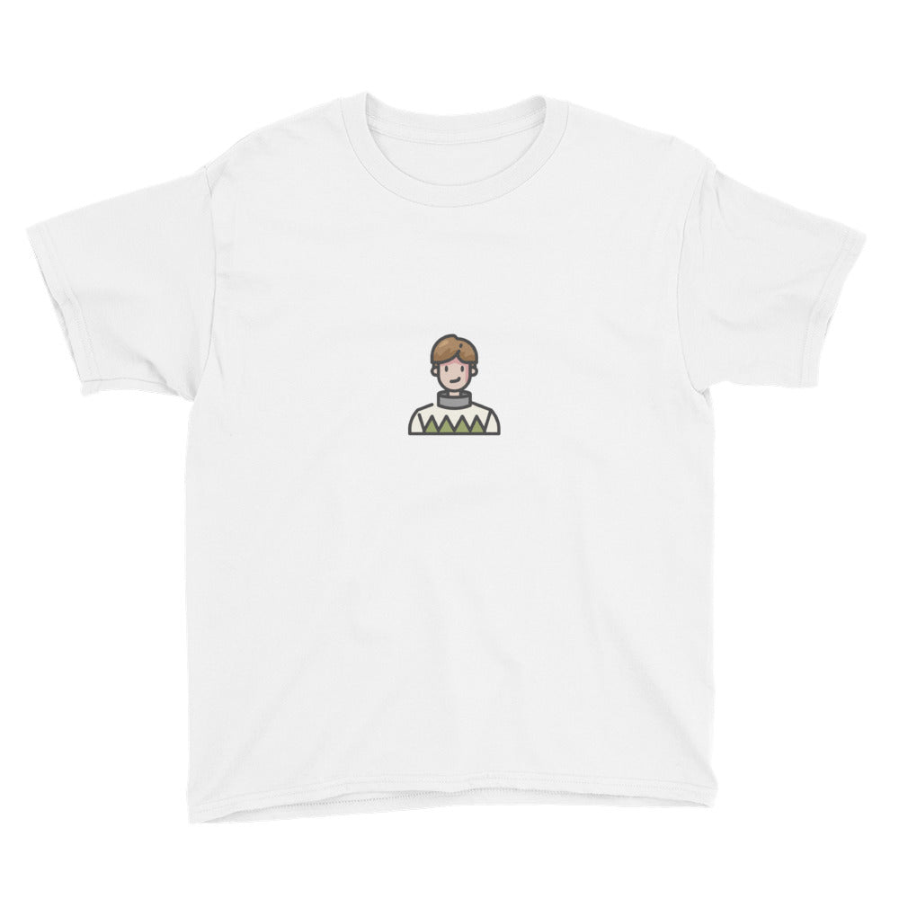 Man in Sweater Youth Short Sleeve T-Shirt - FRANKdesigns.Co