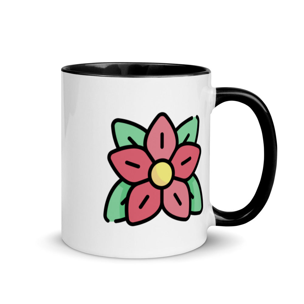 Pointsettia Mug with Color Inside - FRANKdesigns.Co