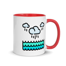 Load image into Gallery viewer, Rainy Clouds Over the Ocean Mug with Color Inside - FRANKdesigns.Co