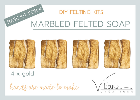 BASE KIT FOR 4 - Marbled felted soap - GOLD