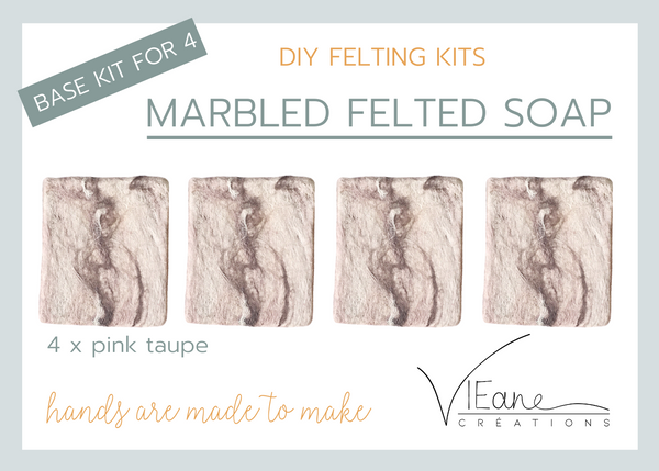 BASE KIT FOR 4 - Marbled felted soap - PINK TAUPE