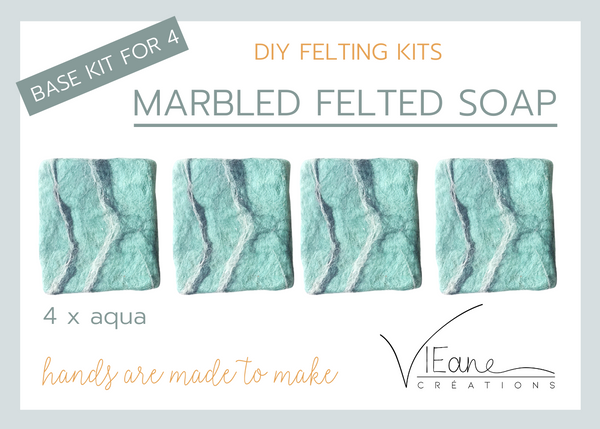 BASE KIT FOR 4 - Marbled felted soap - AQUA