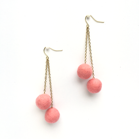 BASE KIT FOR 1 - Felted ball earrings kit - FLAMINGO PINK