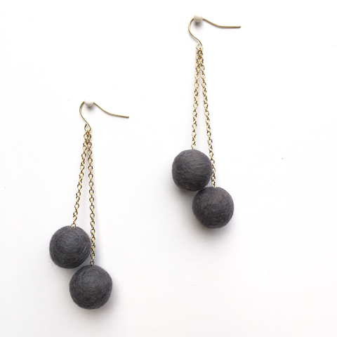 BASE KIT FOR 1 - Felted ball earrings kit - GRANITE GREY