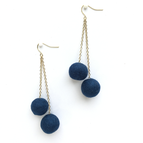 BASE KIT FOR 1 - Felted ball earrings kit - MIDNIGHT BLUE