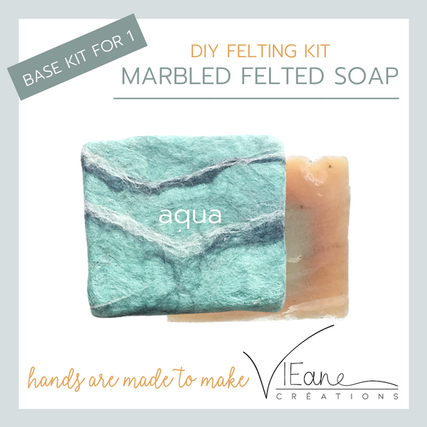 BASE KIT FOR 1 - Marbled felted soap kit – AQUA