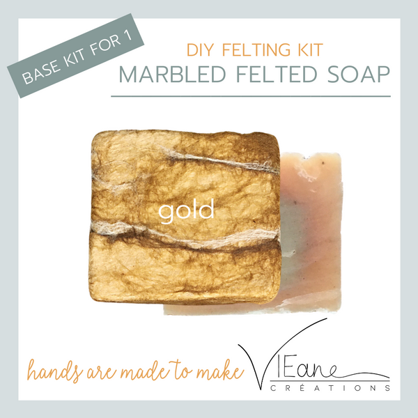 BASE KIT FOR 1 - Marbled felted soap kit - GOLD