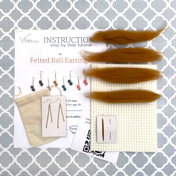 BASE KIT FOR 1 - Felted ball earrings kit - ANTIQUE GOLD