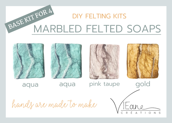 BASE KIT FOR 4 - Marbled felted soap kit - MIXED COLORS