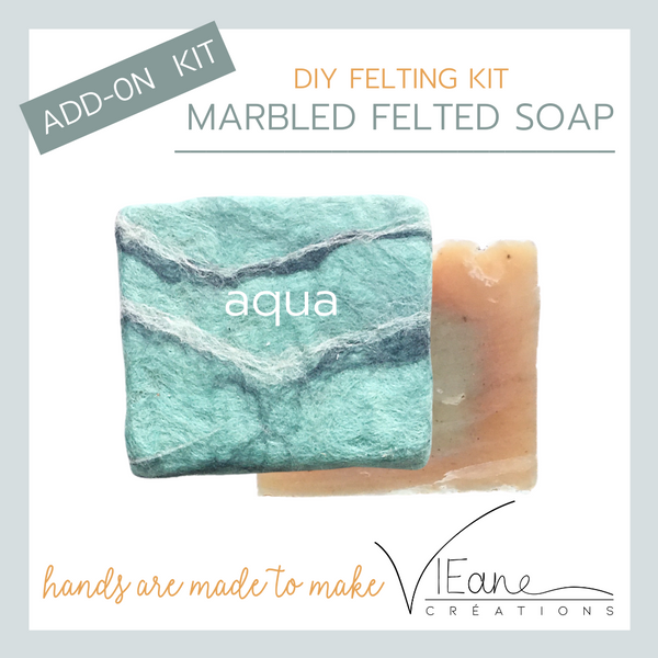 REFILL/ADD-ON KIT - Marbled felted soap - AQUA