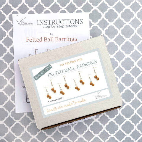 BASE KIT FOR 4 - Felted ball earrings kit - ANTIQUE GOLD