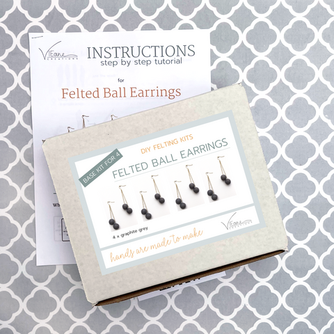 BASE KIT FOR 4 - Felted ball earrings kit - GRAPHITE GREY