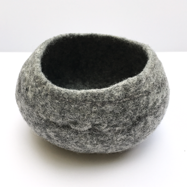 BASE KIT FOR 4 - Minimalist felted bowl - GREY+WHITE