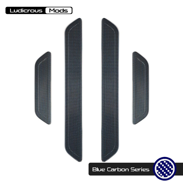 BLUE CARBON FIBER DOOR SILL PROTECTOR SET